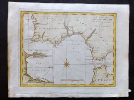 Cary 1801 Hand Col Map. A Chart of the Straits of Gibraltar